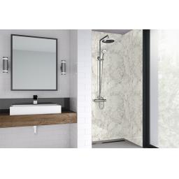 White Statuario Bathroom Shower Panel