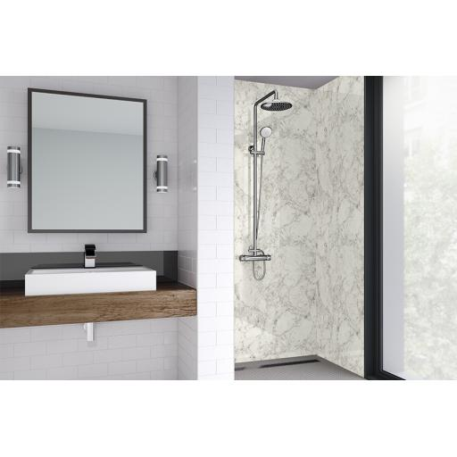 White Statuario Bathroom & Shower Wall Panel