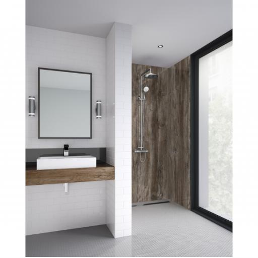 Dark Wood Bathroom Shower Panel