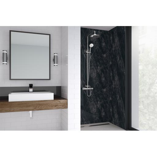 Black Statuario Bathroom & Shower Wall Panel
