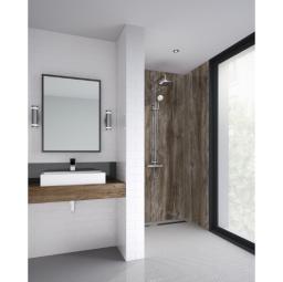 Dark Wood Bathroom Shower Panel