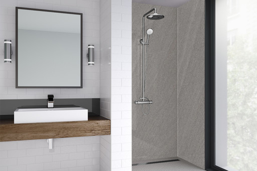 Rossano Sand Bathroom Shower Panel