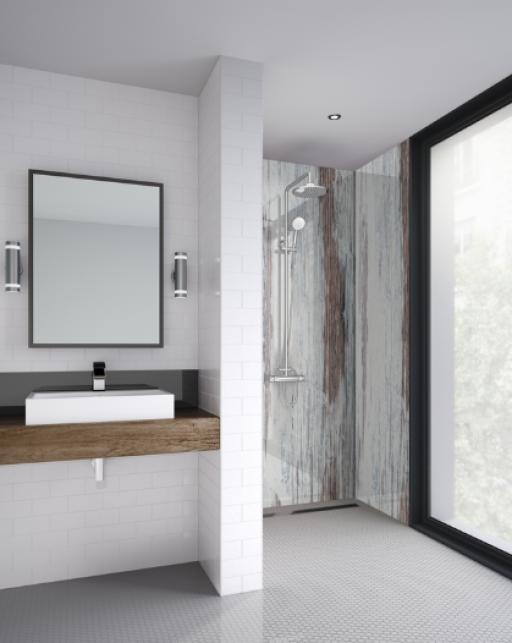 Painted Wood Bathroom Shower Panel