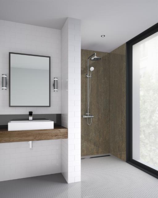 Gold Alloy Bathroom Shower Panel