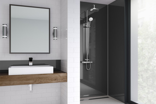 Black Gloss Bathroom Shower Panel