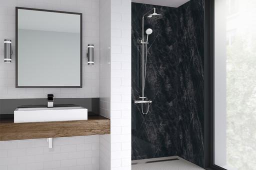 Black Statuario Bathroom Shower Panel