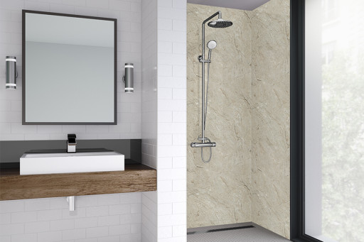 Grey Statuario Bathroom Shower Panel